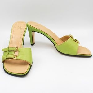 AK Anne Klein Green Slip On Buckle Mules Heels 6 M